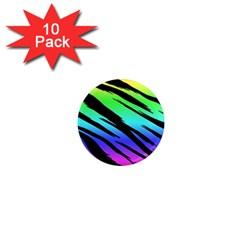 Rainbow Tiger 1  Mini Button Magnet (10 Pack) by ArtistRoseanneJones