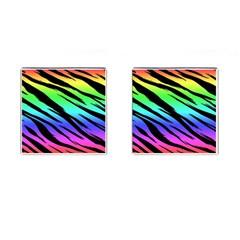 Rainbow Tiger Cufflinks (Square) by ArtistRoseanneJones
