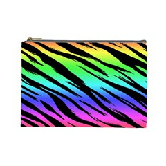 Rainbow Tiger Cosmetic Bag (large) by ArtistRoseanneJones