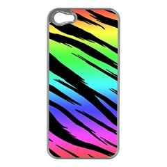 Rainbow Tiger Apple Iphone 5 Case (silver) by ArtistRoseanneJones