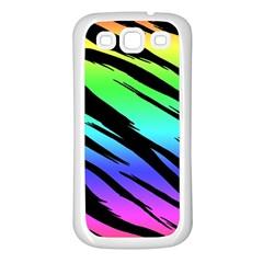 Rainbow Tiger Samsung Galaxy S3 Back Case (white) by ArtistRoseanneJones