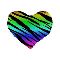 Rainbow Tiger Standard 16  Premium Flano Heart Shape Cushion  by ArtistRoseanneJones