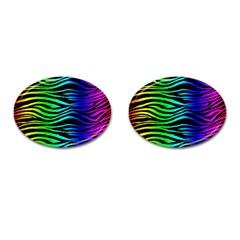 Rainbow Zebra Cufflinks (Oval) by ArtistRoseanneJones