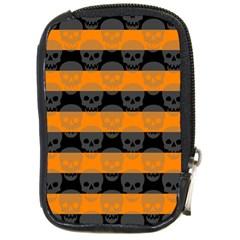 Deathrock Stripes Compact Camera Leather Case by ArtistRoseanneJones
