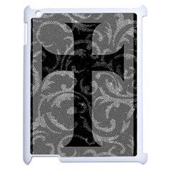 Goth Brocade Cross Apple iPad 2 Case (White) by ArtistRoseanneJones