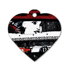 Punk Chick Dog Tag Heart (one Sided)  by ArtistRoseanneJones