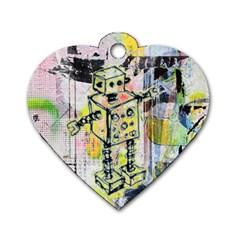 Graffiti Graphic Robot Dog Tag Heart (one Sided)  by ArtistRoseanneJones