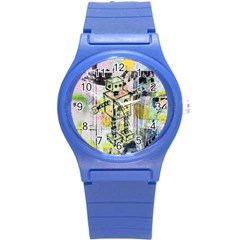 Graffiti Graphic Robot Plastic Sport Watch (small) by ArtistRoseanneJones