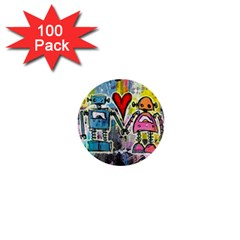 Graffiti Pop Robot Love 1  Mini Button (100 pack) by ArtistRoseanneJones