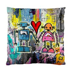 Graffiti Pop Robot Love Cushion Case (single Sided)  by ArtistRoseanneJones