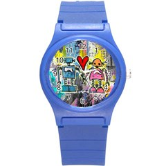 Graffiti Pop Robot Love Plastic Sport Watch (small) by ArtistRoseanneJones