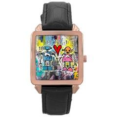 Graffiti Pop Robot Love Rose Gold Leather Watch  by ArtistRoseanneJones