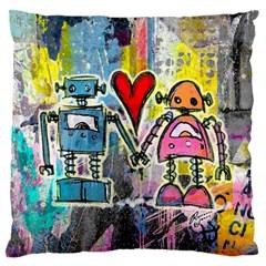 Graffiti Pop Robot Love Standard Flano Cushion Case (one Side) by ArtistRoseanneJones