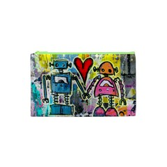 Graffiti Pop Robot Love Cosmetic Bag (XS) by ArtistRoseanneJones
