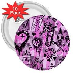 Pink Scene Kid Sketches 3  Button (10 Pack) by ArtistRoseanneJones
