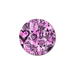 Pink Scene Kid Sketches Golf Ball Marker by ArtistRoseanneJones