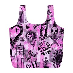 Pink Scene Kid Sketches Reusable Bag (l) by ArtistRoseanneJones