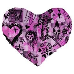Pink Scene Kid Sketches Large 19  Premium Flano Heart Shape Cushion by ArtistRoseanneJones