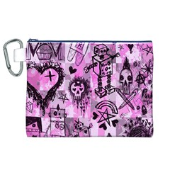 Pink Scene Kid Sketches Canvas Cosmetic Bag (XL) by ArtistRoseanneJones