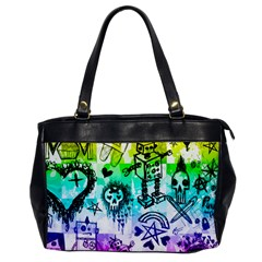 Rainbow Scene Kid Sketches Oversize Office Handbag (one Side) by ArtistRoseanneJones