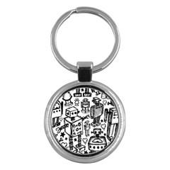 Robot Crowd Key Chain (round) by ArtistRoseanneJones
