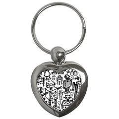 Robot Crowd Key Chain (heart) by ArtistRoseanneJones