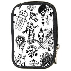 Scene Kid Sketches Compact Camera Leather Case by ArtistRoseanneJones
