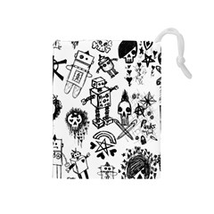 Scene Kid Sketches Drawstring Pouch (medium) by ArtistRoseanneJones