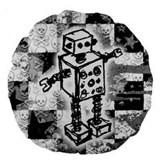 Sketched Robot Large 18  Premium Round Cushion  by ArtistRoseanneJones