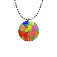 Colorful Paint Spots 1  Button Necklace by LalyLauraFLM