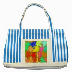 Colorful Paint Spots Striped Blue Tote Bag by LalyLauraFLM