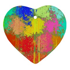 Colorful Paint Spots Heart Ornament (two Sides) by LalyLauraFLM