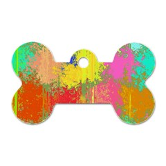 Colorful Paint Spots Dog Tag Bone (two Sides) by LalyLauraFLM