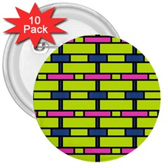 Pink,green,blue Rectangles Pattern 3  Button (10 Pack) by LalyLauraFLM
