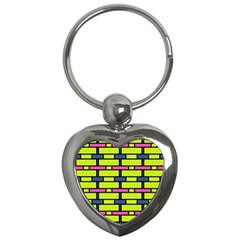 Pink,green,blue Rectangles Pattern Key Chain (heart) by LalyLauraFLM