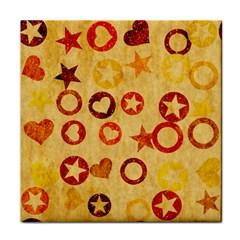 Shapes on vintage paper Tile Coaster by LalyLauraFLM