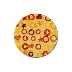 Shapes On Vintage Paper Magnet 3  (round) by LalyLauraFLM