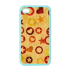 Shapes On Vintage Paper Apple Iphone 4 Case (color) by LalyLauraFLM
