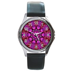 Pink Fractal Kaleidoscope  Round Leather Watch (silver Rim) by KirstenStar