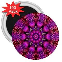Pink Fractal Kaleidoscope  3  Button Magnet (100 Pack) by KirstenStar