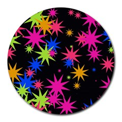 Colorful Stars Pattern Round Mousepad by LalyLauraFLM