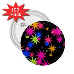 Colorful Stars Pattern 2 25  Button (100 Pack) by LalyLauraFLM