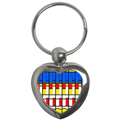 Colorful Rectangles Pattern Key Chain (heart) by LalyLauraFLM