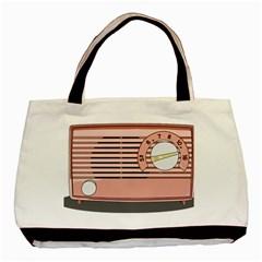 Pink Retro Radio Twin-sided Black Tote Bag by hoddynoddy