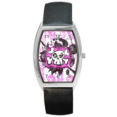 Cartoon Skull  Tonneau Leather Watch by ArtistRoseanneJones