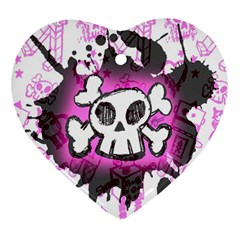 Cartoon Skull  Heart Ornament (two Sides) by ArtistRoseanneJones