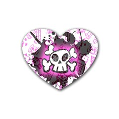 Cartoon Skull  Drink Coasters 4 Pack (heart)  by ArtistRoseanneJones