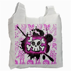 Cartoon Skull  White Reusable Bag (two Sides) by ArtistRoseanneJones