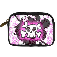 Cartoon Skull  Digital Camera Leather Case by ArtistRoseanneJones