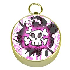 Cartoon Skull  Gold Compass by ArtistRoseanneJones